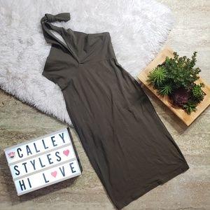 American Apparel Halter Dress Olvie Green Sz M D4